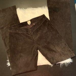 Ecru dark gray suede pants. Beautiful. Size 2.